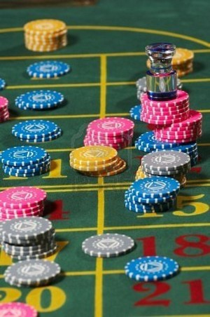 Roulette chips on the betting table